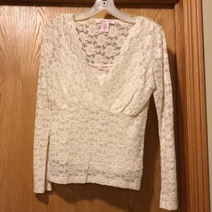 Nine & Co sexy ivory lace top built in camisole